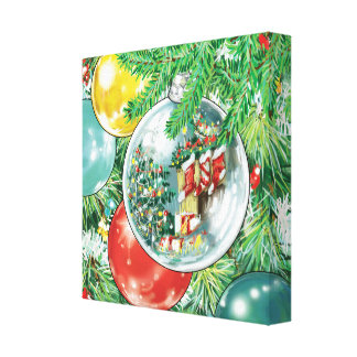 Family Christmas Tree Reflection Painting Stretched Canvas Prints