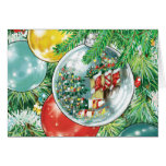 Family Christmas Tree Reflection Painting Greeting Card