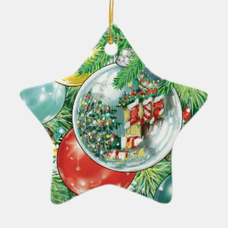 Family Christmas Tree Reflection Painting Ceramic Ornament