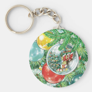 Family Christmas Tree Reflection Painting Basic Round Button Keychain