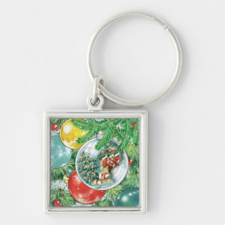 Family Christmas Tree Reflection Painting Silver-Colored Square Keychain