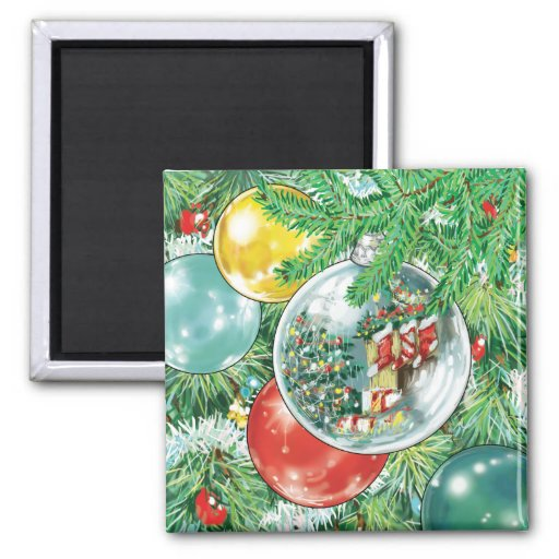 Family Christmas Tree Reflection Painting Refrigerator Magnet