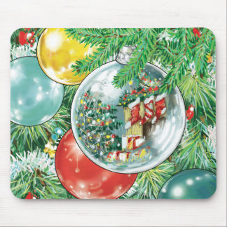 Family Christmas Tree Reflection Painting Mouse Pad
