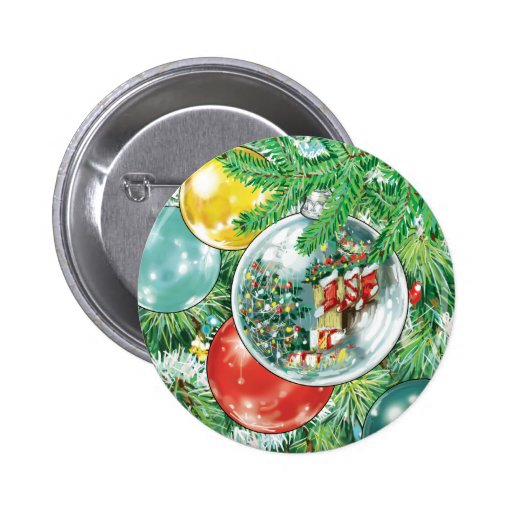 Family Christmas Tree Reflection Painting Pin