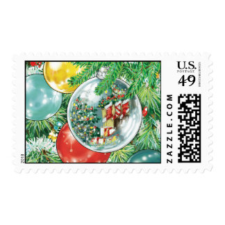 Family Christmas Tree Reflection Painting Postage Stamp