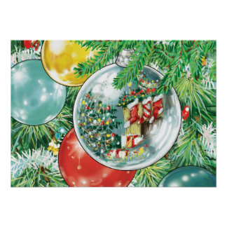 Family Christmas Tree Reflection Painting Poster