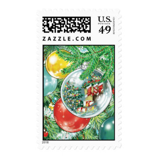 Family Christmas Tree Reflection Painting Stamp