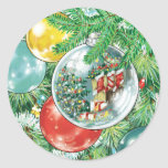 Family Christmas Tree Reflection Painting Classic Round Sticker