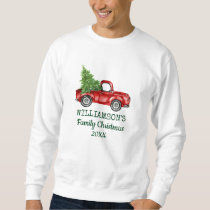 Family Christmas Vintage Red Truck Personalized Sweatshirt