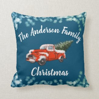 Family Christmas Vintage Red Truck Throw Pillow