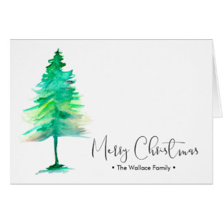 Family Christmas Watercolor Pinetree, Personalized Card