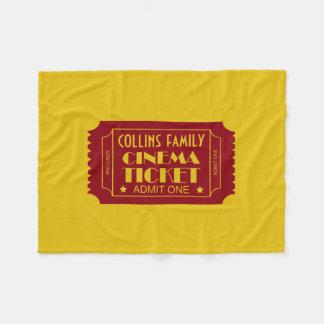 Family Cinema Ticket Custom Name Fleece Blanket