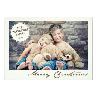 Family Circle Vintage Merry Christmas Photo Card Personalized Invitation