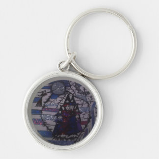 family circle,witches,by mandy ashby Silver-Colored round keychain