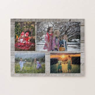 Family collage 4 photos on rustic wood jigsaw puzzle