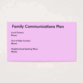 Family Communications / Disaster Plan Business Card
