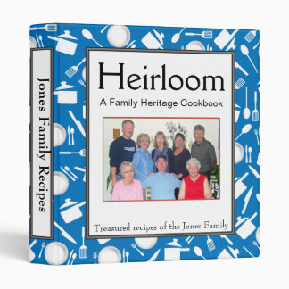 Family Cookbook - Customize - 1-inch BLUE 3 Ring Binders