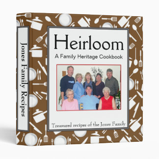Family Cookbook - Customize - 1-inch BROWN 3 Ring Binder