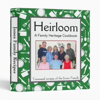 Family Cookbook - Customize - 1-inch GREEN 3 Ring Binder
