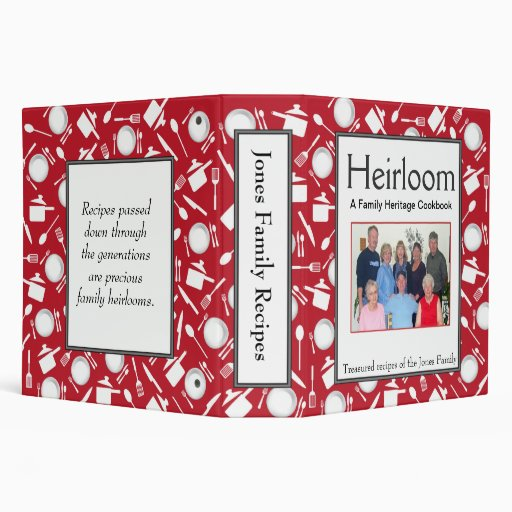 Family Cookbook - Customize 2-inch RED Vinyl Binders
