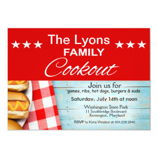 Family Cookout Picnic | red & white gingham Card