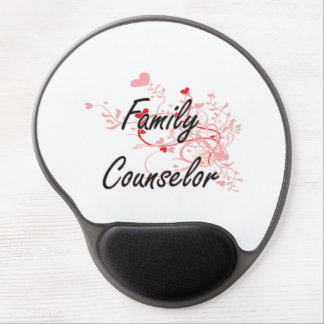 Family Counselor Artistic Job Design with Hearts Gel Mouse Pad