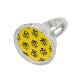 Family Crest Black Yellow Photo Ring