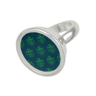 Family Crest Blue Green Ring
