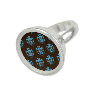 Family Crest Teal Brown Photo Ring