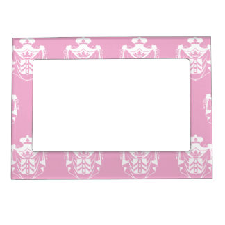 Family Crest White Pink Photo Frame Magnets