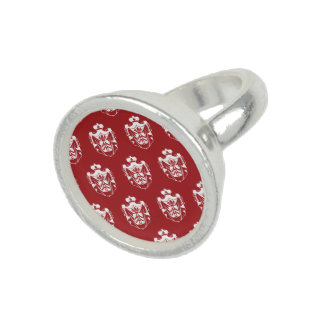 Family Crest White Red Photo Rings