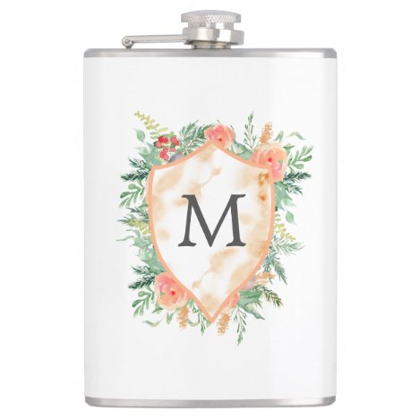 family crest winter floral monogram flask
