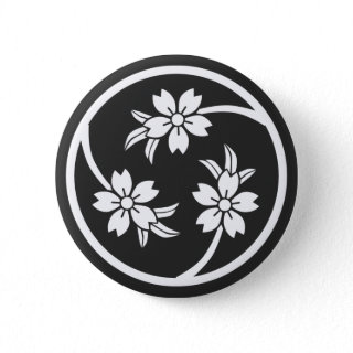 [Family Crests] Cherry tree Buttons brushed kanji