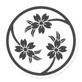 [Family Crests] Cherry tree Round Stickers brushed kanji