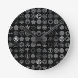 [Family Crests] Flowers and Plants Black Wall Clock