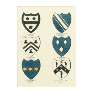 Family Crests of Various English Houses Acrylic Wall Art