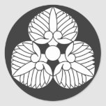 Family Crests Plants 丸形シールステッカー brushed kanji