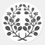Family Crests Plants 丸形シール・ステッカー brushed kanji