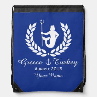 Family Cruise Sea God and laurel wreath custom Drawstring Bag