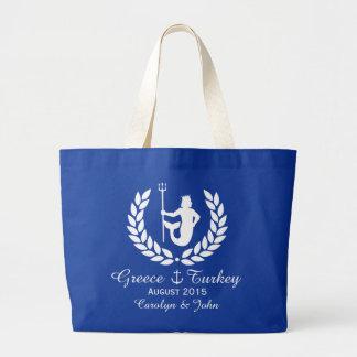 Family Cruise Sea God and laurel wreath custom Large Tote Bag