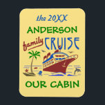 "Family Cruise Ship Vacation | Cabin Stateroom Name Magnet<br><div class=""desc"">Enjoy your family cruise trip with this personalized stateroom / cabin door marker magnet. The design includes room for the year and your name at the top. You can also change the last line - &quot;OUR CABIN&quot; to &quot;STATEROOM&quot; - or leave it as-is. The rest of the design says &quot;Family...</div>"