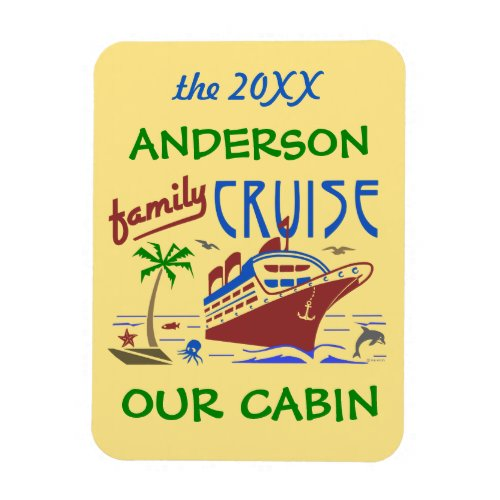 Family Cruise Ship Vacation  Cabin Stateroom Name Magnet