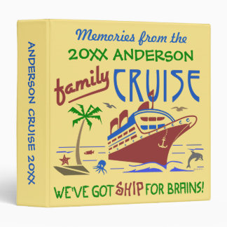 Family Cruise Vacation Funny Ship | Custom Name 3 Ring Binder