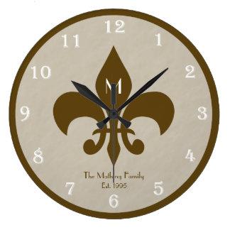 Family Customized Fleur De Lis Wall Clock