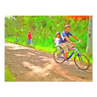 Family cycling on a dirt track photo print