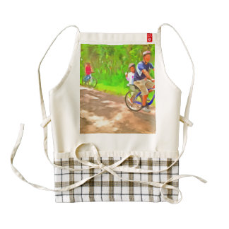 Family cycling on a dirt track zazzle HEART apron
