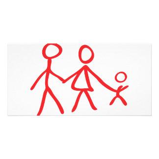 family dad mom kid card