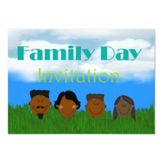 Family day Invitation with African Amercian family