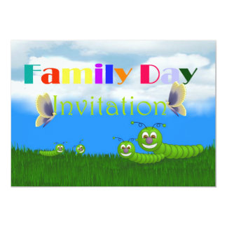 Family day Invitation with caterpillars butterfly