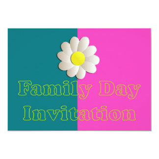 Family day Invitation with daisy flower